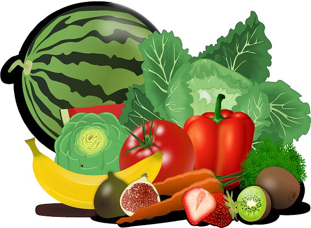 kreslené ovoce, zelenina