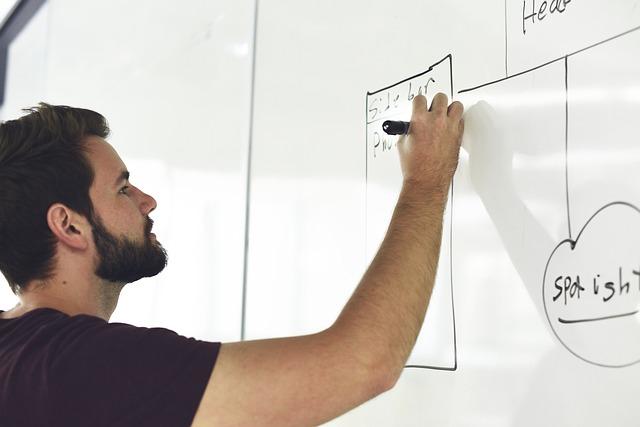 muž, tabule, kreslení grafu