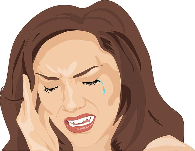 žena, bolest, slza